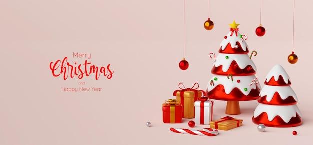 Scène de carte postale de bannière de noël d'arbre de noël avec des cadeaux, illustration 3d