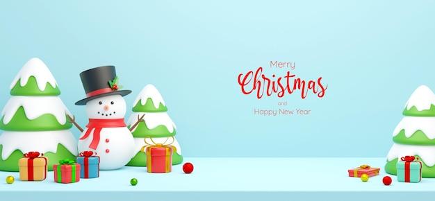 Scène de carte postale de bannière de noël de bonhomme de neige avec arbre de noël et cadeaux, illustration 3d