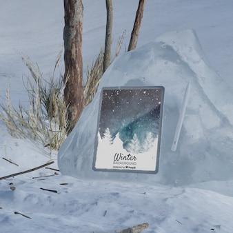 Scène gelée avec appareil électronique