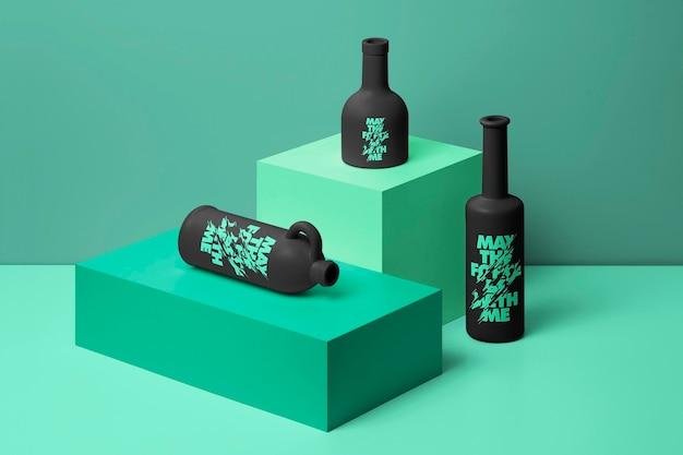 Scène de maquette de bouteilles personnalisable