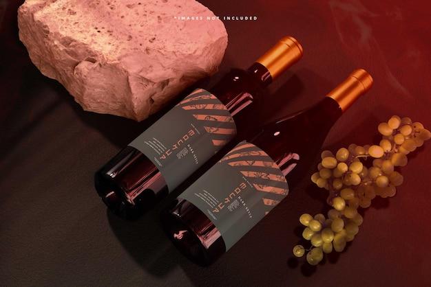 Scène de maquette de marque de vin
