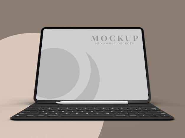 Scène de maquette de tablette réaliste. modèle pour la conception d'entreprise mondiale d'identité de marque