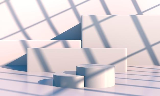 Scène minimale aux formes géométriques, podiums en fond crème avec des ombres. scène pour montrer le produit cosmétique, vitrine, vitrine, vitrine. 3d