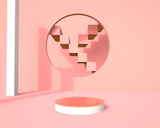 Scène minimale avec des formes géométriques avec des ombres