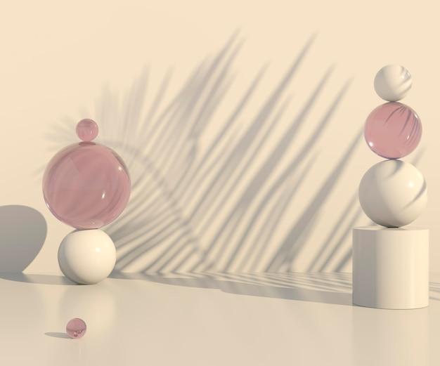 Scène minimale avec des formes géométriques et des podiums