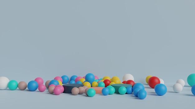 Scène de mur podium abstrait boules pastel fond géométrique rendu 3d