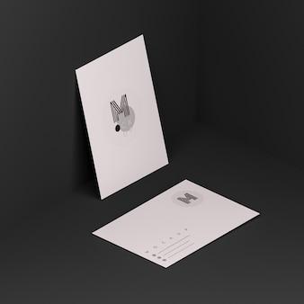 Scène noire avec maquette de carte de visite