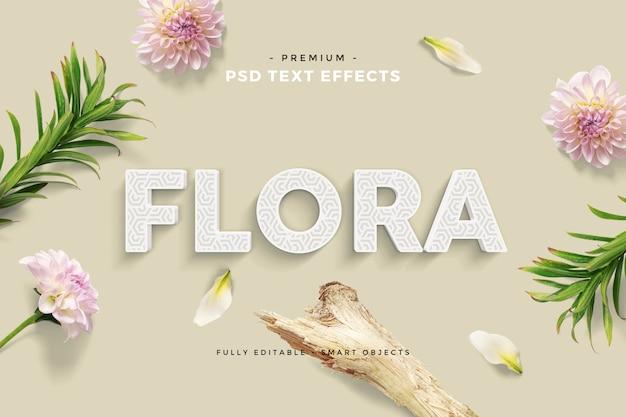 Scène personnalisée de maquette d'effet de texte floral amusant