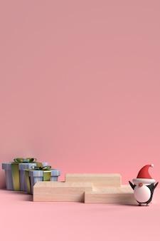 Scène de podium de noël avec boîte-cadeau et pingouin en rendu 3d