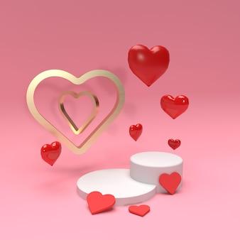 Scène de scène de produit 3d avec coeurs et bague en or pour la publicité
