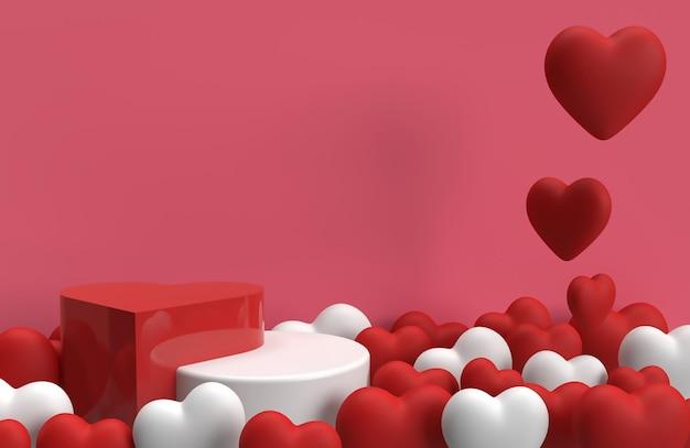 Scène de scène de produit 3d avec des coeurs pour la publicité