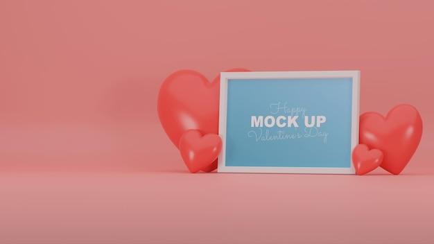 Scène de valentine minimale avec maquette de cadre et coeurs réalistes 3d