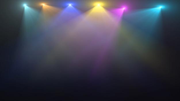 Scène vide avec des projecteurs colorés