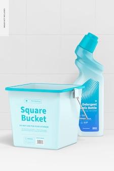 Seau carré avec maquette de bouteille de nettoyant