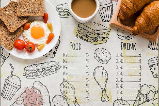 Sélection vue de dessus du concept de petit déjeuner savoureux