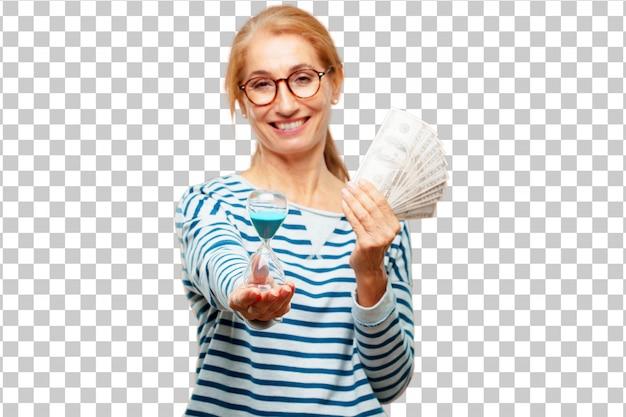 Senior belle femme payer, achat ou concept d'argent
