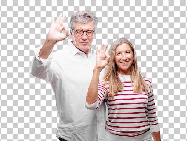 Senior cool mari et femme faisant un bien