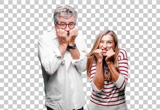 Senior cool mari et femme à la recherche de peur