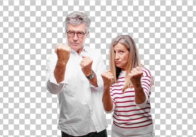 Senior cool mari et femme avec un regard fâché