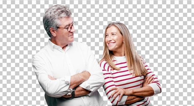 Senior cool mari et femme avec un regard fier, satisfait et heureux sur le visage