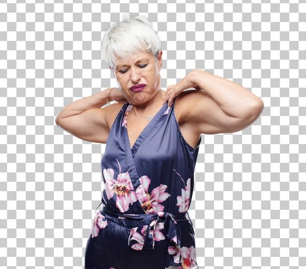 Senior femme cool avec un geste anxieux, stressé et nerveux, se sentant sous une grande pression.
