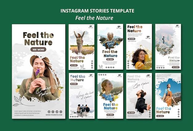 Sentez-vous le modèle d'histoires de nature instagram