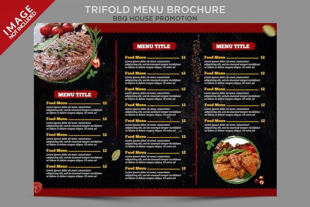Série de brochures à l'intérieur du menu à trois volets de bbq house