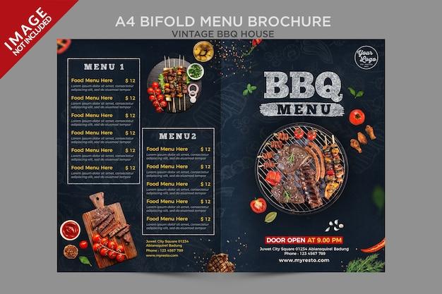 Série de brochures de menu maison à deux volets vintage bbq house