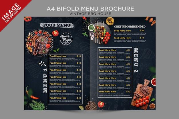 Série de brochures de menus à deux volets vintage bbq house a4