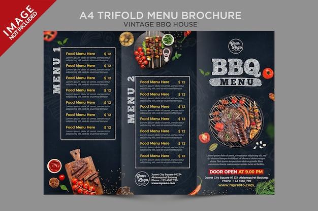 Série de brochures de menus à trois volets vintage bbq house a4