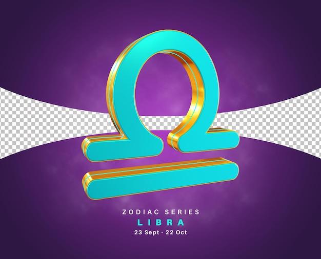 Série de signe du zodiaque balance pour août et septembre rendu 3d isolé