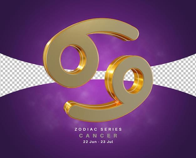 Série de signe du zodiaque cancer pour juin et juillet rendu 3d isolé