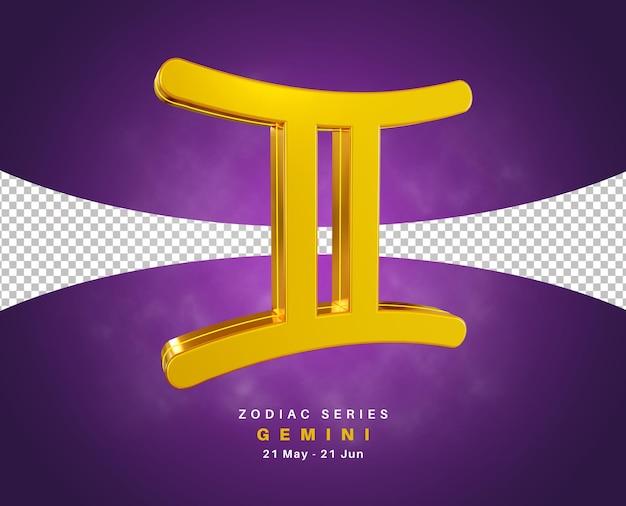 Série de signe du zodiaque gémeaux pour mai et juin rendu 3d isolé