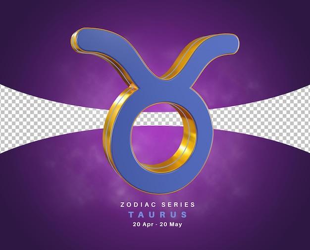 Série de signe du zodiaque taureau pour avril et mai rendu 3d isolé