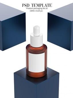 Sérum du visage sur une boîte bleue sombre isolée sur fond blanc 3d render