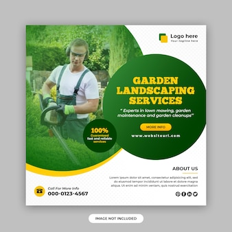 Service d'aménagement paysager de jardin publication sur les réseaux sociaux et modèle de conception de bannière web