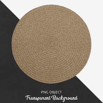 Service textile marron rond sur fond transparent
