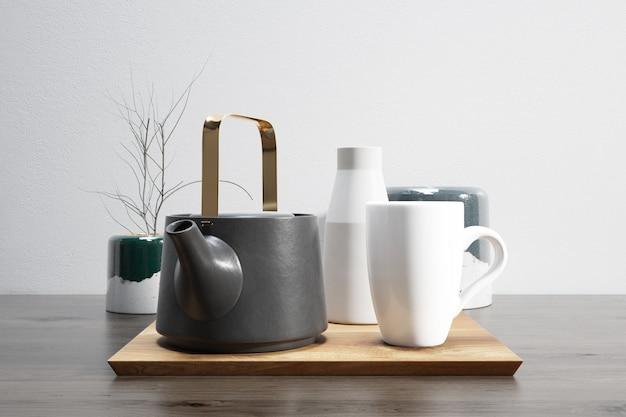 Service à thé sur plateau en bois