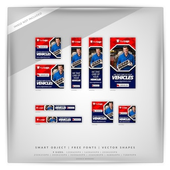 Service de voiture marketing google banner set