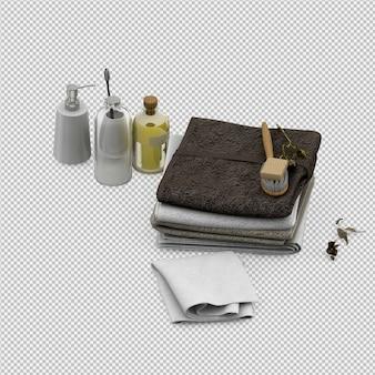 Serviettes avec accessoires de salle de bain