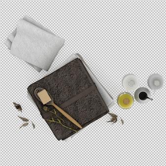 Serviettes pliées avec accessoires de salle de bain rendu 3d isolé