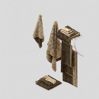 Serviettes pliées rendu 3d isolé