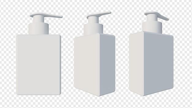 Shampooing ou bouteille de savon liquide rendu isolé
