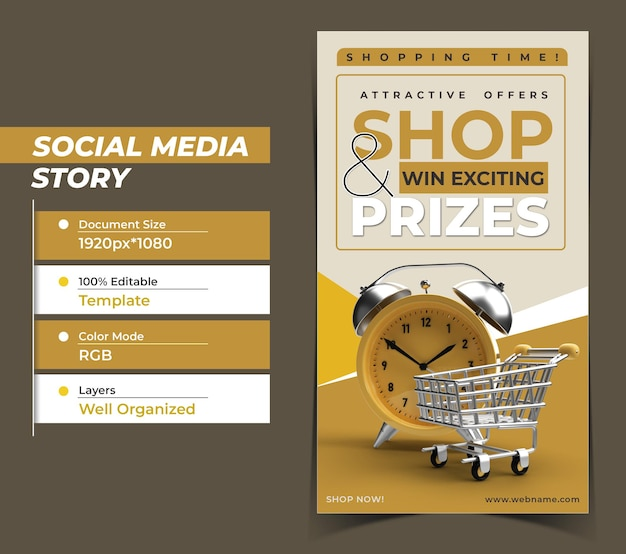Shopping time digital marketing instagram stories banner template