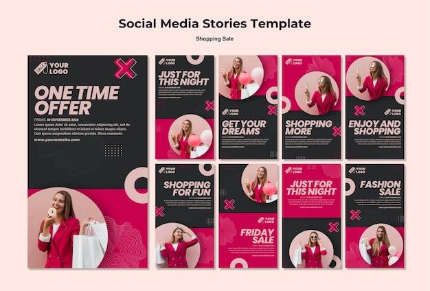 Shopping ventes histoires de médias sociaux