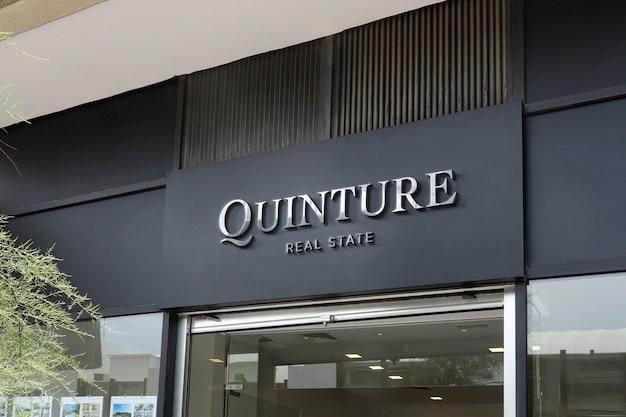 Signe de façade moderne de maquette de logo 3d chrome