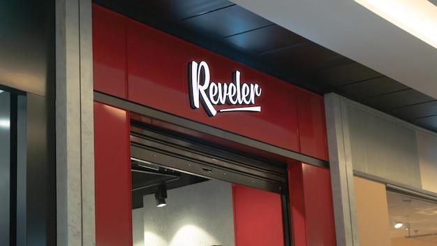 Signe de façade moderne de maquette de logo avant 3d
