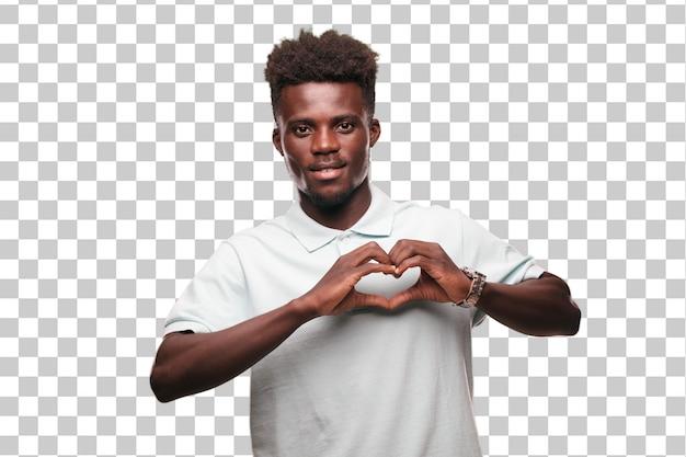 Signe jeune homme noir cool. découper la personne sur fond monochrome