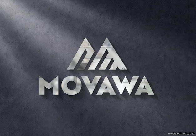 Signe de logo en métal 3d sur une maquette de mur sombre