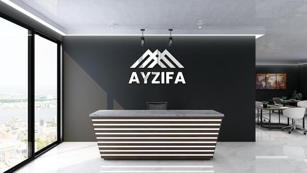 Signe de maquette de logo 3d dans un bureau moderne avec mur noir